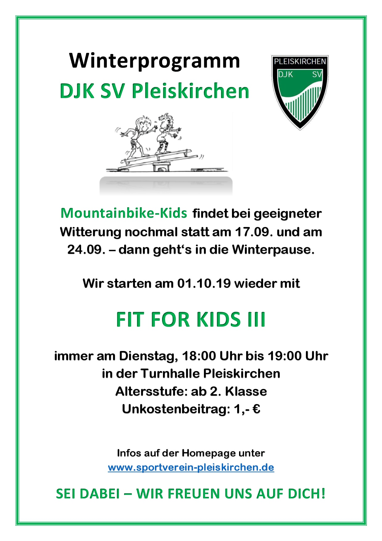 FIT FOR KIDS III startet ab Dienstag, 01.10.
